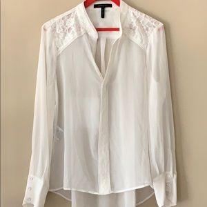 BCBG Creme Lacey sheer dress blouse